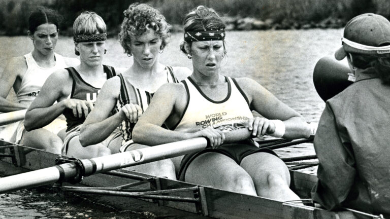 JUNE 17: The 1976 Yale University rowing team, right to left (stern to bow), Gloria Graz, Jackie Zoch, Nancy Storrs, Chris Ernst and Carol Brown. (Photo by Stan Grossfeld/The Boston Globe via Getty Images)