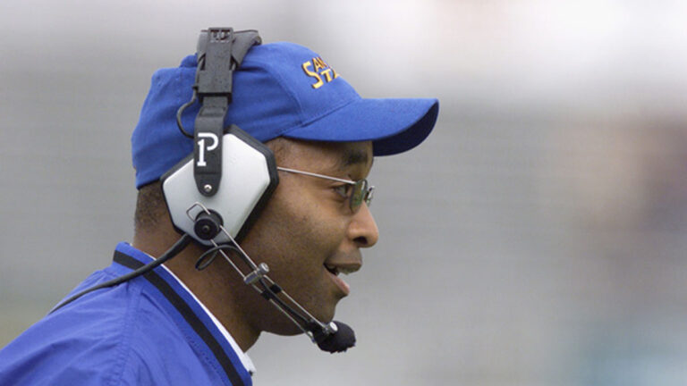 Fitz Hill coaching San Jose State University's football game.
