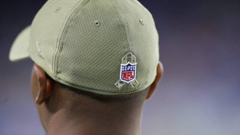 Closeup of baseball cap with NFL logo