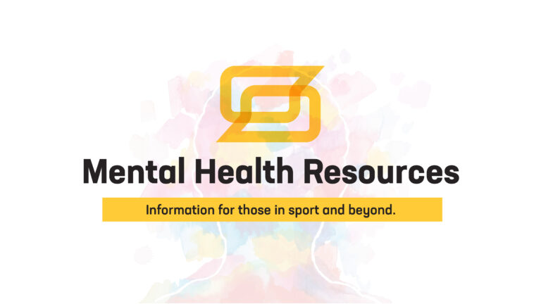 "Abstract vector watercolor drawing of a person's silhouette. Text reads, ""Mental Health Resources. Information for those in sport and beyond."""