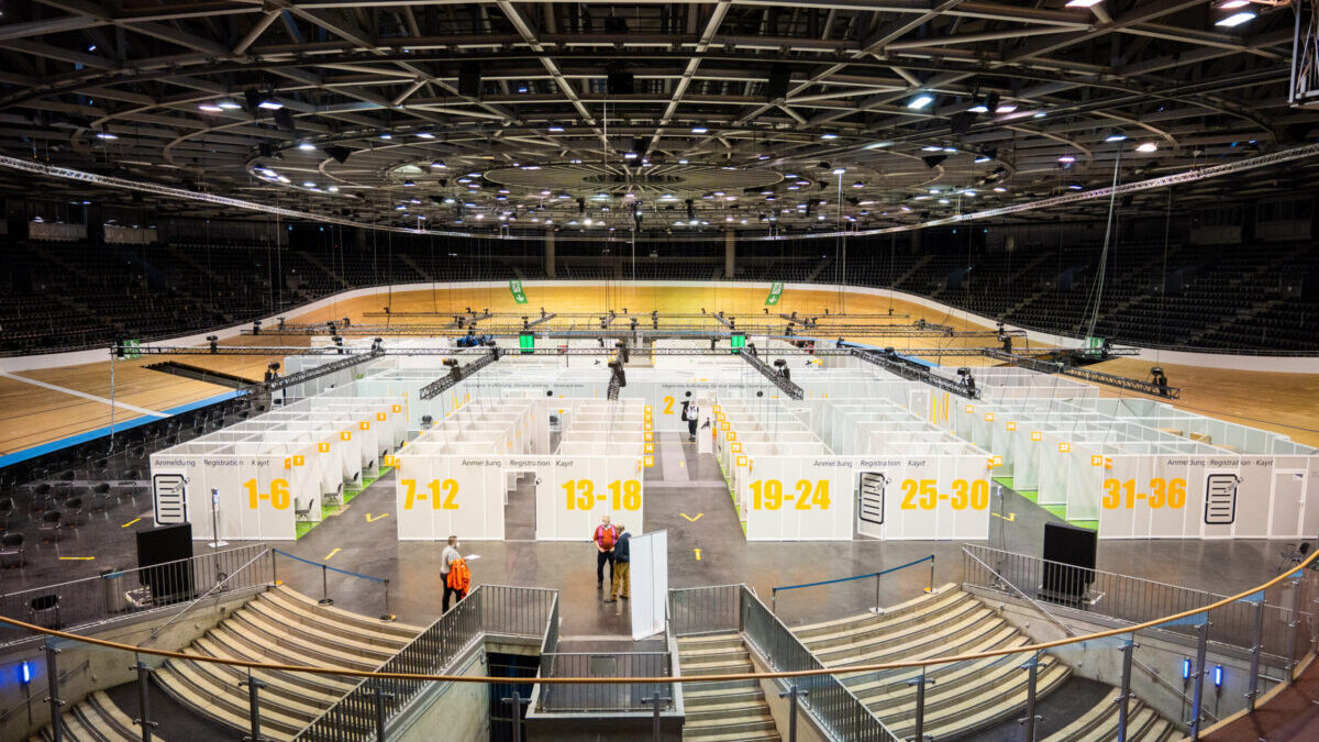 A vaccination center has been set up in a sports venue
