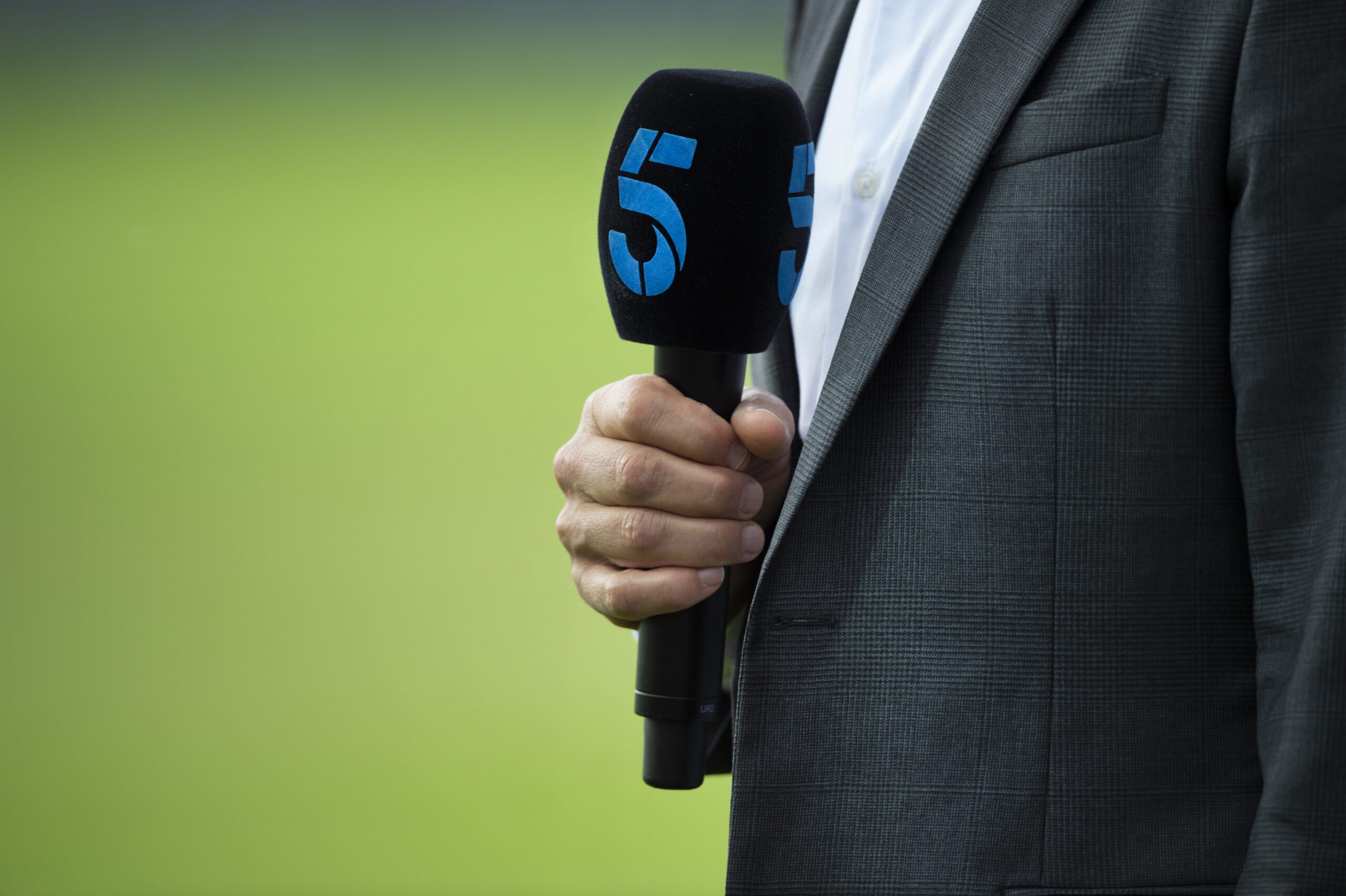 LEEDS, ENGLAND - JUNE 03: A Channel 5 microphone before day three of the 2nd NatWest Test match between England and Pakistan at Headingley on June 3, 2018 in Leeds, England. (Photo by Visionhaus/Corbis via Getty Images)