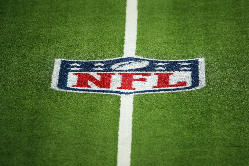 INGLEWOOD, CALIFORNIA - DECEMBER 06: A detailed view of the NFL logo on the field before the game between the Los Angeles Chargers and the New England Patriots at SoFi Stadium on December 06, 2020 in Inglewood, California. (Photo by Katelyn Mulcahy/Getty Images)