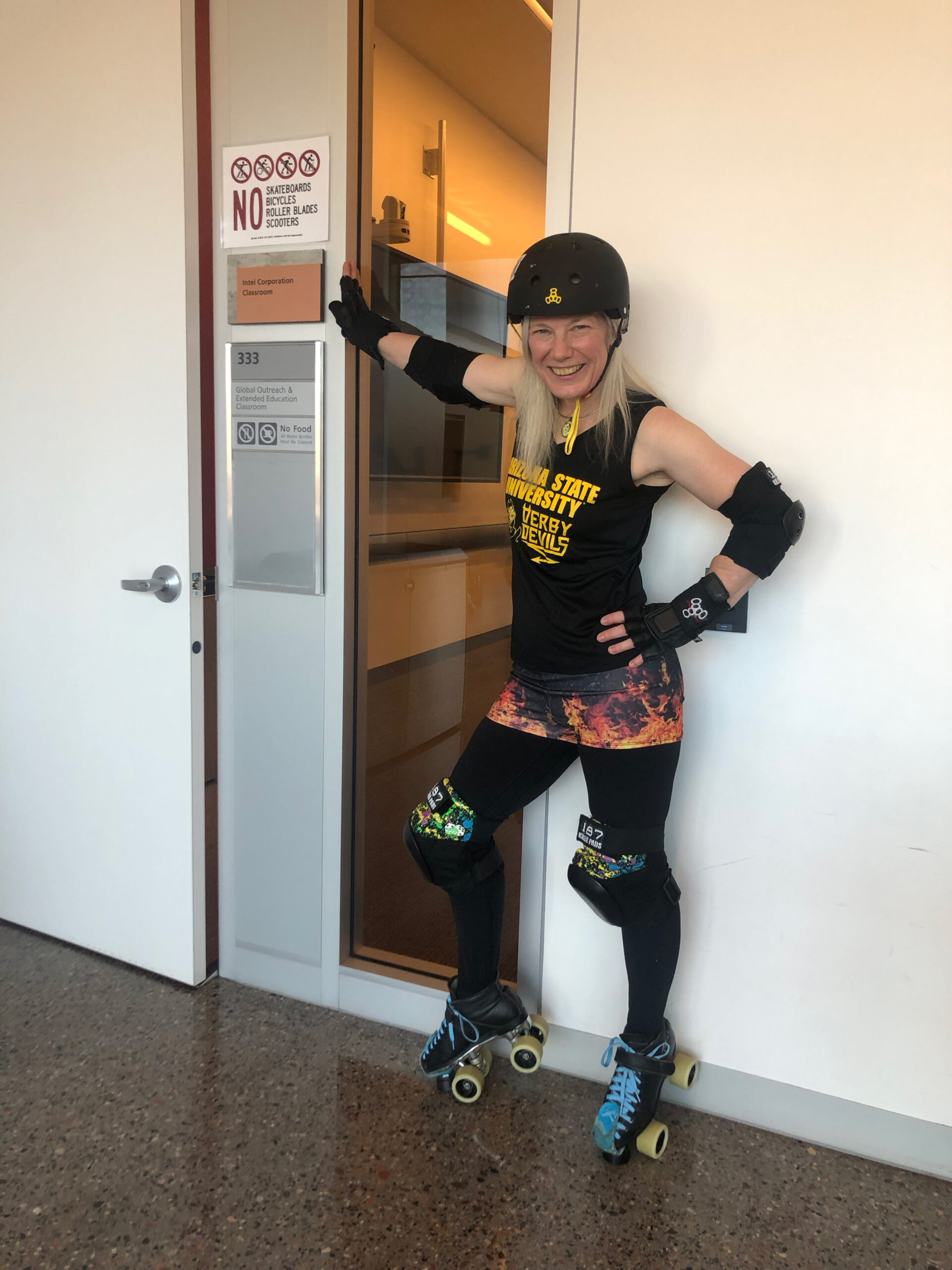 Devoney Looser in her roller derby gear during a Global Sport Institute video shoot. (Photo courtesy of Chrisal Valencia)