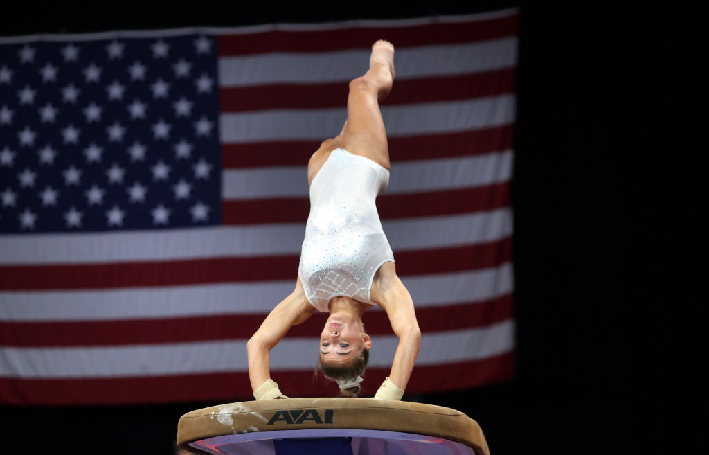 BOSTON, MA - AUGUST 15: Olivia Dunne practices on the vault for the US Gymnastics Championships at TD Garden in Boston on Aug. 15, 2018. (Photo by Barry Chin/The Boston Globe via Getty Images)