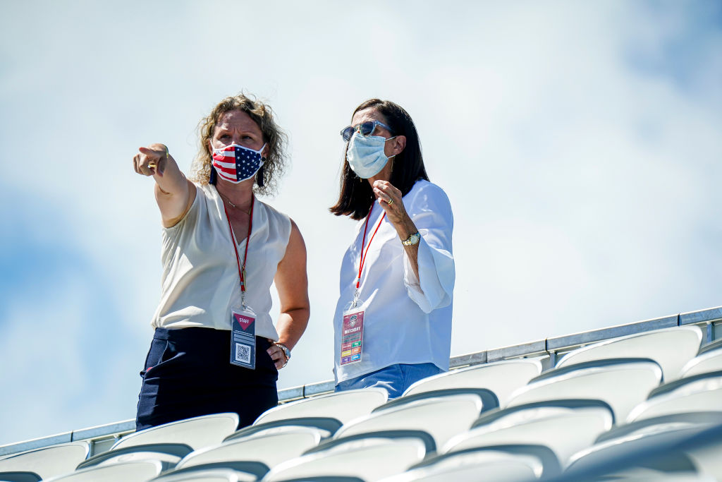 LEESBURG, VA - SEPTEMBER 5: Washington Spirit Director of Growth Gretchen Hamm, left, speaks with NWSL Commissioner Lisa Baird during a game between Sky Blue FC and Washington Spirit at Segra Field on September 5, 2020 in Leesburg, Virginia. (Photo by Timothy Nwachukwu/ISI Photos/Getty Images).