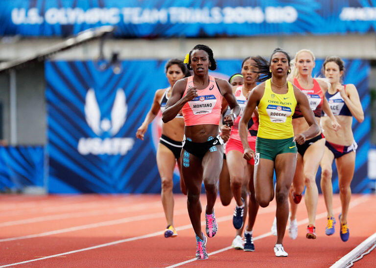 EUGENE, OR - JULY 04: Alysia Montano runs in the Women's 800 Meter Final during the 2016 U.S. Olympic Track & Field Team Trials at Hayward Field on July 4, 2016 in Eugene, Oregon. (Photo by Andy Lyons/Getty Images)