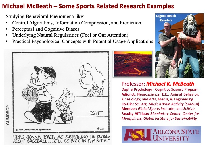 A slide from Global Sport Scholar Michael McBeath's Research