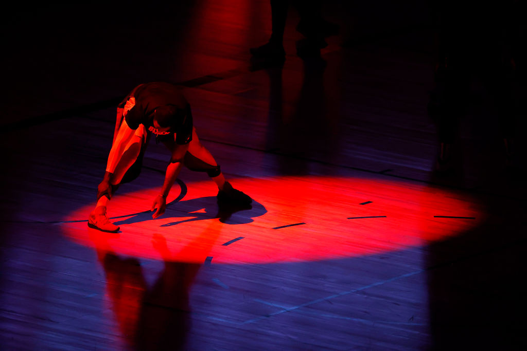 LAKE BUENA VISTA, FLORIDA - AUGUST 01: Patrick Patterson #54 of the LA Clippers stretches before a game against the New Orleans Pelicans at HP Field House at ESPN Wide World Of Sports Complex on August 01, 2020 in Lake Buena Vista, Florida. (Photo by Kevin C. Cox/Getty Images)