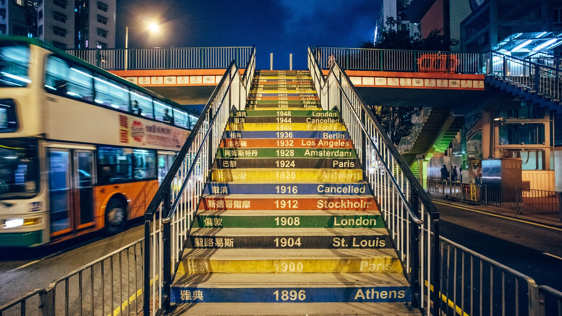 Olympic Game Years mural on stairs